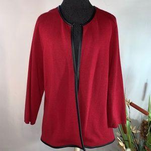 Chico`s Red Sandie Cardigan Sweater